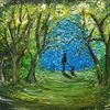 Wald, Hund, Lichtung, Malerei