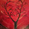 Herz, Baum, Rot, Malerei