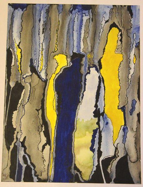Abstrakt, Durchbruch, Gelb, Blau, Aquarell