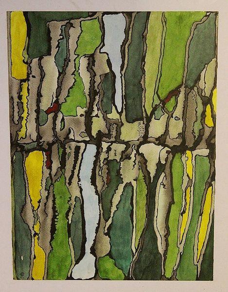 Grün, Gelb, Abstrakt, Durchbruch, Aquarell