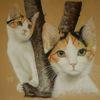 Katze, Katzenbaby, Pastellmalerei, Äste