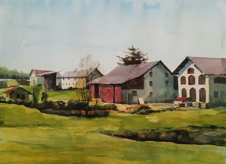 Bauernhof, Aquarellmalerei, Pleinair, Aquarell, Frühling