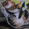 Acrylmalerei, Mischtechnik, Aktion, Katzenbaby