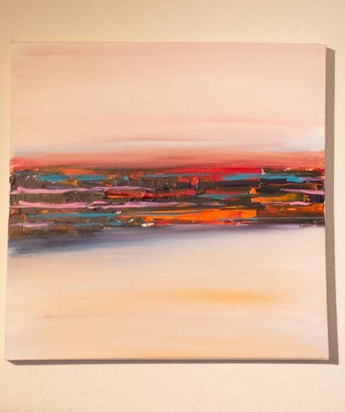 Orange, Fluss, Abstrakt, Türkis, Rot, Malerei