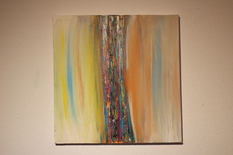 Blau, Magenta, Gelb, Fluss, Weiß, Malerei