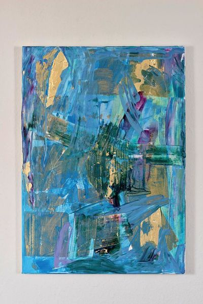 Blau, Lila, Abstrakt, Gold, Mischtechnik