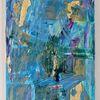 Blau, Lila, Abstrakt, Gold