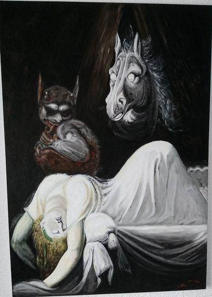 Skurril, Traum, Ölmalerei, Szene, Fantasie, Malerei