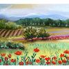 Malerei, Toskana, Pastellmalerei, Aquarell auf papier