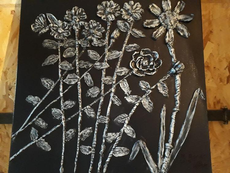 Schwar, Weiß, Blumen, Mischtechnik, 3d