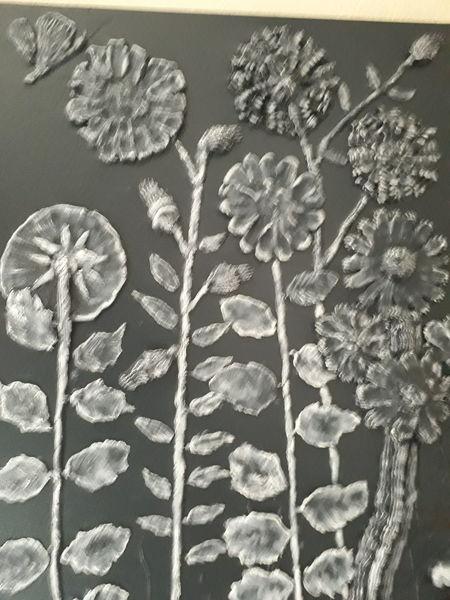 Blumen, Modern art, Schwar, Mischtechnik, 3d