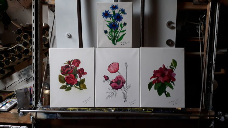 Blumen, Farben, Stillleben, Malerei, Technik