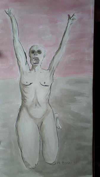 Modern, Schwarz, Menschen, Malerei, Angst