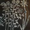 Weiß, Blumen, Schwar, Mischtechnik