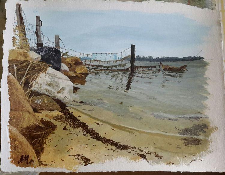 Spiegelung, Malerei, Strand, Acrylmalerei, Küste, Landschaft
