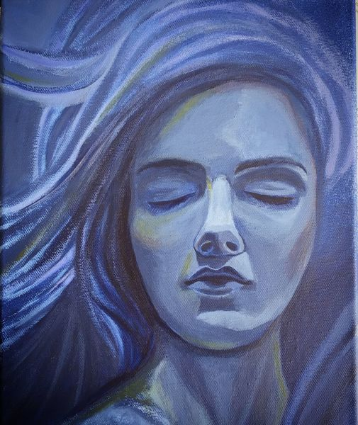 Figur, Acrylmalerei, Frau, Menschen, Blau, Malerei acryl