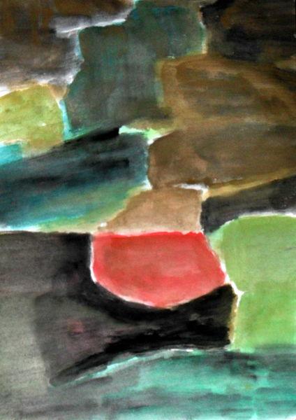 Schwarz, Rot, Grün, Malerei, Abstrakt