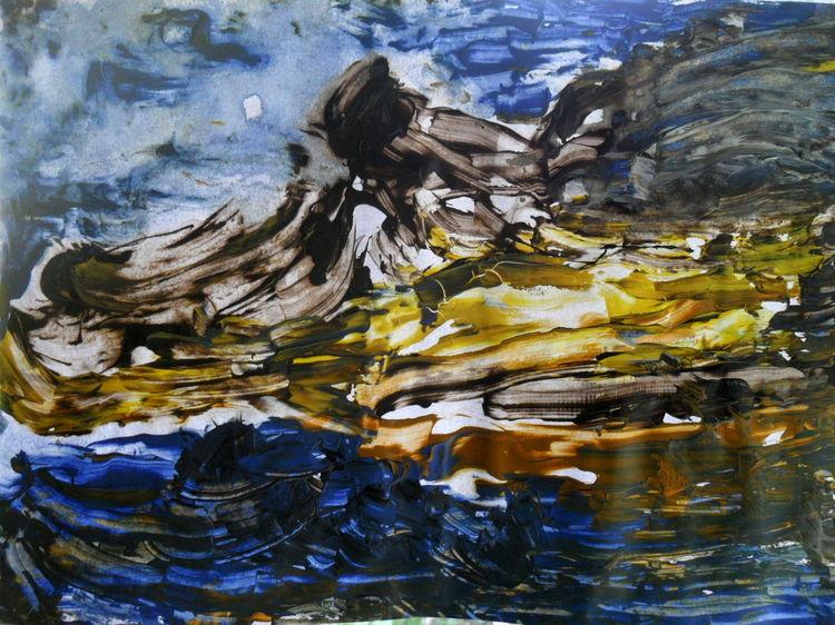 Weiß, Gelb, Blau, Malerei, Natur