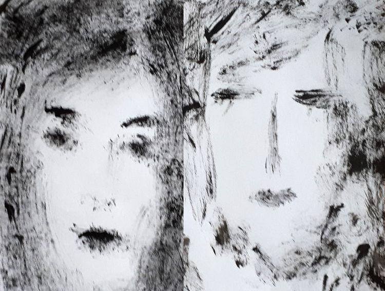 Weiß, Acrylmalerei, Schwesterm, Schwarz, Malerei, Schwestern