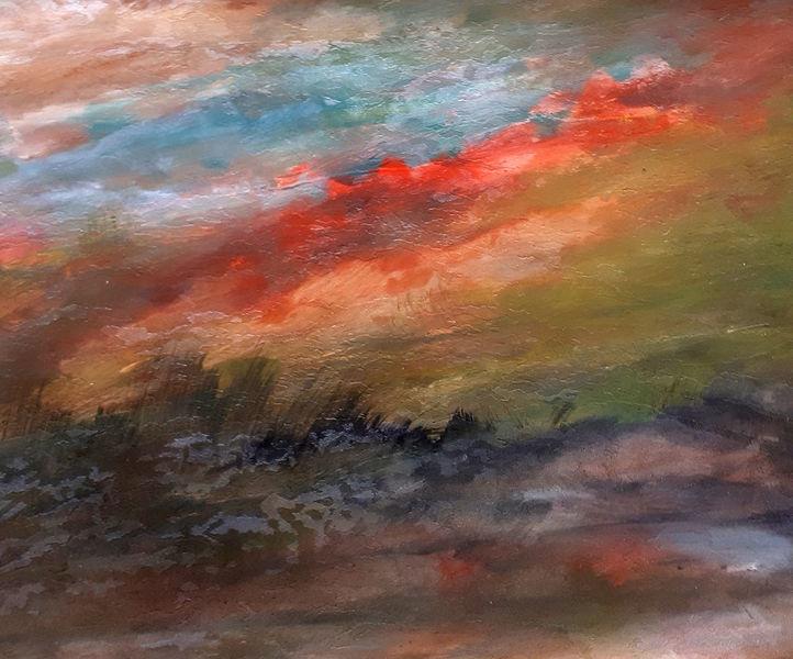 Landschaft, Sonnenuntergang, Abend, Malerei