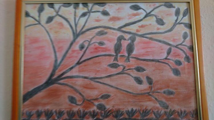 Pastellmalerei, Aquarellmalerei, Baum, Vogel, Mischtechnik, Abendstimmung