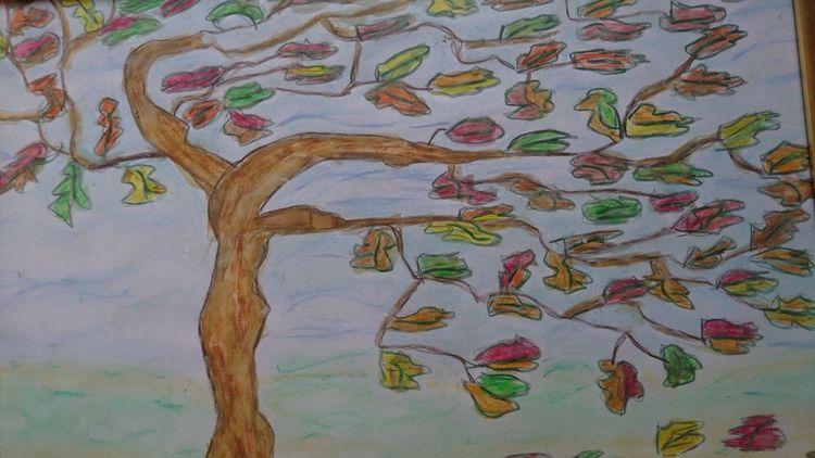 Pastellmalerei, Baum, Aquarellmalerei, Wind, Mischtechnik,