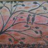 Pastellmalerei, Baum, Aquarellmalerei, Vogel