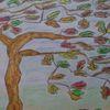 Pastellmalerei, Baum, Aquarellmalerei, Wind