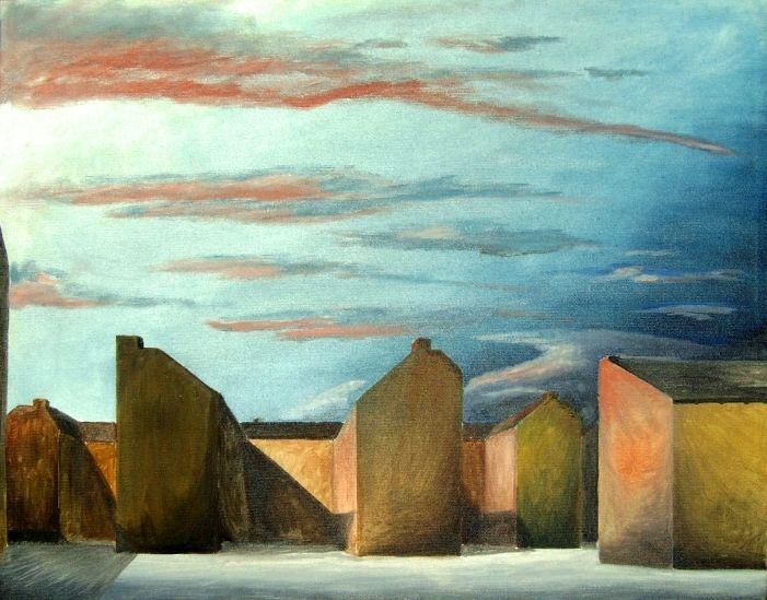 Stadt, Hinterhof, Einsamkeit, Trostlosigkeit, Malerei, Gemeinsam