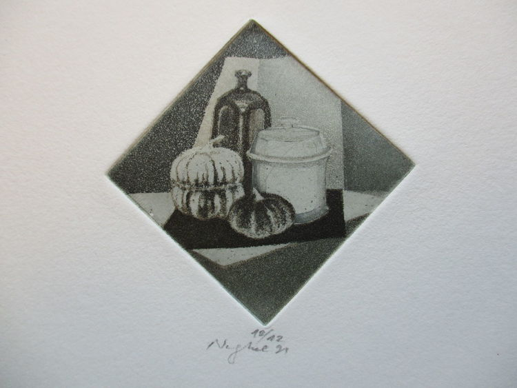Miniatur, Stillleben, Druckgrafik, Melone,