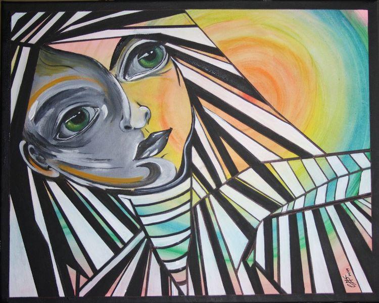Bunt, Malerei, Acrylmalerei, Augen, Mimik, Gesicht