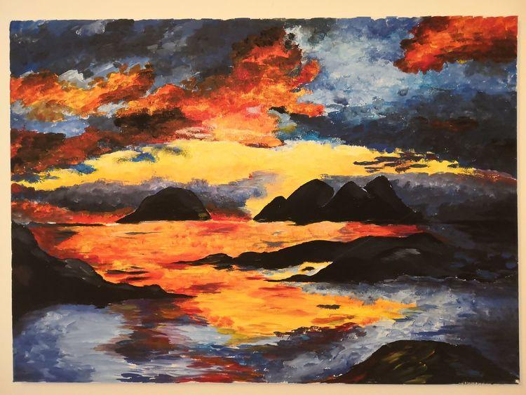 Landschaft, Farben, Acrylmalerei, Malerei