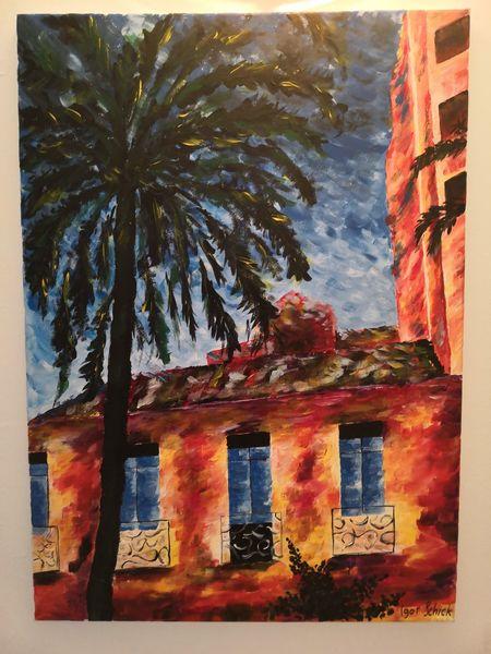 Palma, Haus, Acrylmalerei, Landschaft, Farben, Malerei