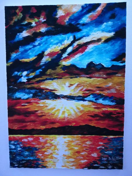 Ölmalerei, Berge, Landschaft, Meer, Malerei, Farben