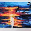 Acrylmalerei, Sonne, Farben, Palma