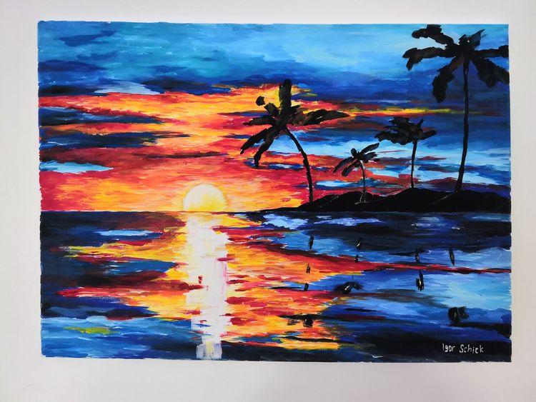 Acrylmalerei, Sonne, Farben, Palma, Landschaft, Malerei
