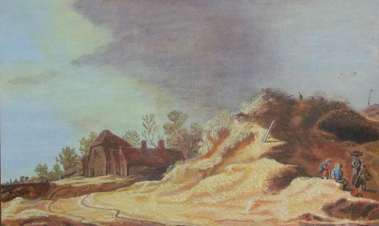 Dünen, Haus, Acrylmalerei, Goyen, Häuser, Landschaft
