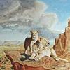 Löwe, Felsen, Savanne, Wolken