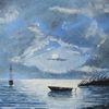 Nacht, Boot, Meer, Wolken