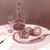 Acrylmalerei, Bleistiftzeichnung, Obst, Karaffe