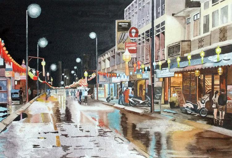 Regen, Nacht, Reflexion, Thailand, Häuser, Straße