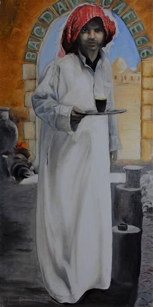Portrait, Syrien, Mann, Malerei