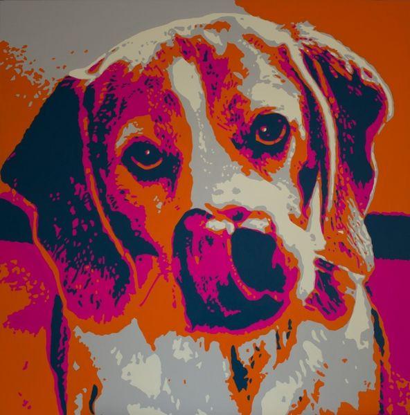 Acrylmalerei, Expressionismus, Farben, Tiere, Hund, Bunt