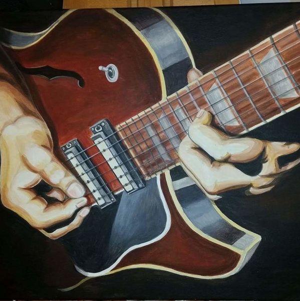 Expressionismus, Modern, Acrylmalerei, Abstrakt, Malerei, Gitarrist