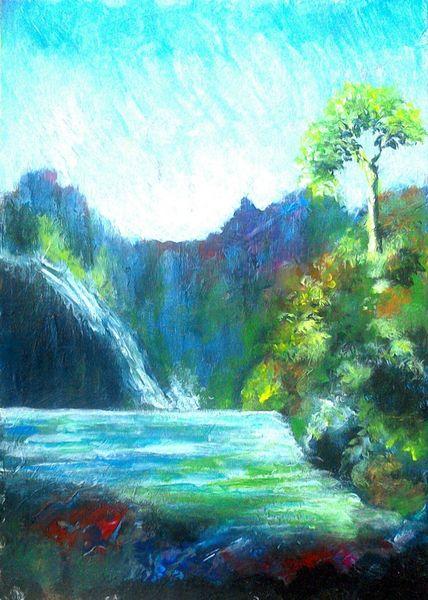 Klippe, Landschaftsmalerei, Berge, Natur, Felsen, Blau