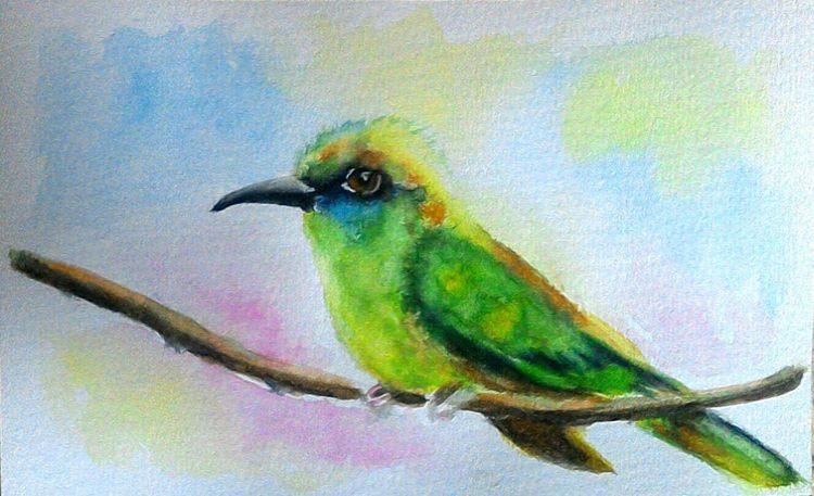Vogel, Grün, Baum, Aquarellmalerei, Gelb, Bienenfresser