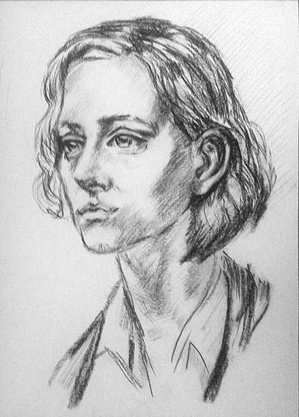 Zeichnung, Blick, Kohlezeichnung, Augen, Portrait, Schwarz