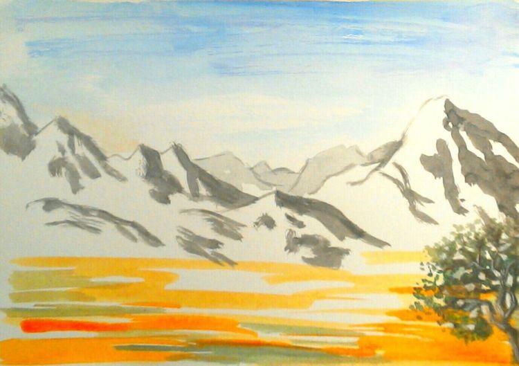Landschaft, Berge, Orange, Natur, Baum, Tuschmalerei