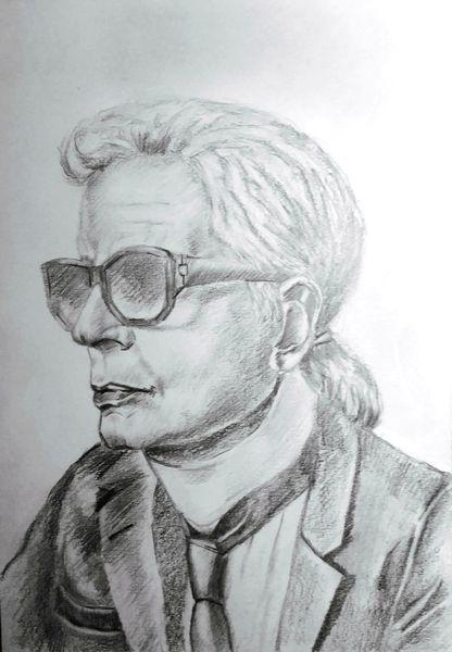 Portrait, Bleistiftzeichnung, Karl lagerfeld, Menschen, Zeichnung, Zeichnungen