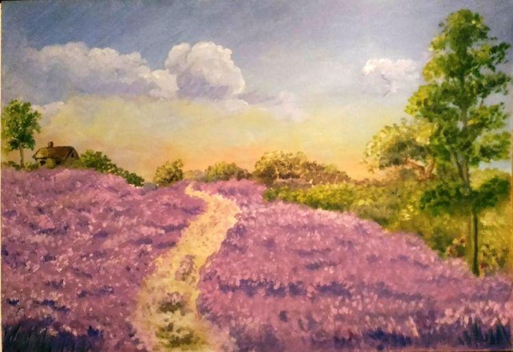 Acrylmalerei, Landschaft, Baum, Haus, Lavendel, Malerei